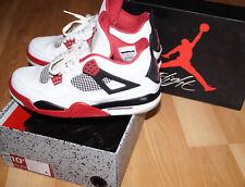 Nike Air Jordan IV 4 Retro WHITE FIRE RED BLACK CEMENT GREY Size 10.5