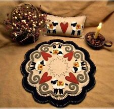 Prim Wool Felt Candle Mat Kit, Penny Rug Kit, I Love Ewe, Embroidery Kit