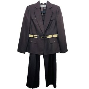 TAHARI Women 2 PC Career Linen Blend Brown Straight Pant Suit Size 6 Suit Belted