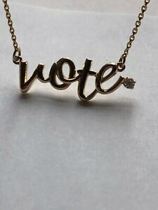 14 Karat Gold Vote Necklace with Clear White Diamonds