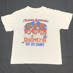 Vintage 1987 Denver Broncos Three Amigos Caricature NFL T-Shirt XL Mark Jackson