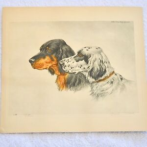 """Vintage Signed Paul Wood - """"SETTERS"""" Aquatint Etching 1935 Paris Etching Society"""