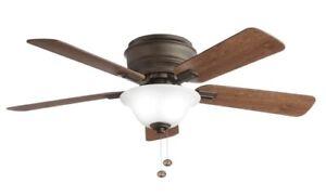 Hampton Bay Hawkins 44 in. LED Oil Rubbed Bronze Ceiling Fan with Light