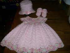 Handmade Crocheted Baby Girl Dress Set. Pink/Variegated  fits approx. 9-12 mo.