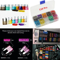 110pcs 2 3 5 7.5 10 15 20 25 30 35Amp Car Auto Low Profile Blade Fuses Box Mould