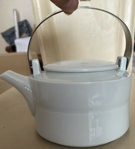 MARIAGE FRERES MF PARIS French Designer Porcelain Teapot Silver Metal Handle NEW