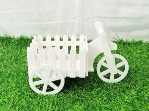 31CM White Cycle Cart Decorative Planter Flower Basket Home Garden Decor