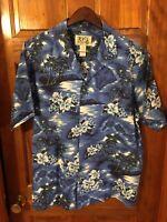 Ky's Hawaiian Shirt Mens Size XL Pre-owned Made In Hawaii Blue Island Print
