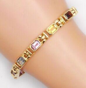 "14k Solid Yellow Gold Rainbow of Gemstones Tennis Link Bracelet~ 7 3/4""~ 21.2 Gr"