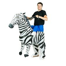 Adult Inflatable Zebra Animal Mascot Costume Outfit Suit Halloween Stag One Size