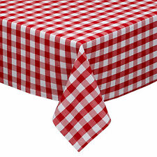 """TANGO RED and White 1"""" Check Cotton Tablecloth 52"""" x 52"""""""