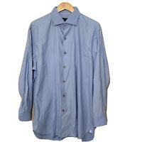 Ermenegildo Zegna Blue Long Sleeve Luxury Button Up Shirt Mens XXL