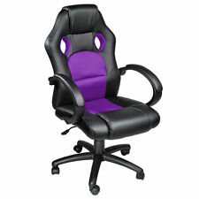 Black Purple Swivel Computer Desk Chair Seat PU Leather Office Gaming Reclining