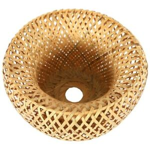 Bamboo Wicker Rattan Lampshade Hand-Woven Double Layer Bamboo Dome Lampshad P9F1