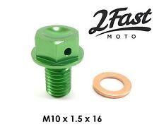 Kawasaki KX 60 65 80 85 100 125 250 500 Magnetic Oil Drain Plug Bolt Green NEW