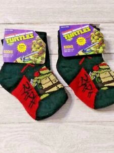 Ninja Turtles Safety toe socks 2 pair Boy's 4-5.5