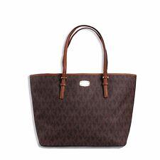 Michael Kors Jet Set Travel MK Signature Large Carryall Tote Handbag Brown Nwt
