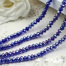 Hot New 6mm 49pcs Faceted Rondelle Bicone Crystal Jewelry Beads dark blue  AB