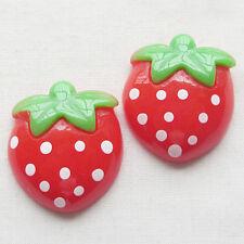 20x Strawberry Resin Flatback Button DIY Scrapbooking Accessories 25*22mm