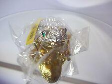 Swarovski Crystal Frog Kalifano Las Vegas Gold Vanity Trinket Box NIB Sealed