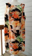 NWT Calvin Klein Sleeveless Dress Size 22W Linen/Rayon Abstract Print