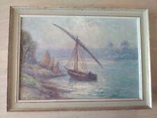 huile sur toile orientaliste Assouan signé à identifier paysage marine bateau