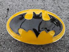 OVAL BLACK YELLOW BATMAN BELT BUCKLE  dc superman hero comic