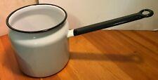 Vintage Enamelware 1 PC Double Boiler Pot White W/ Black Trim - BOTTOM ONLY