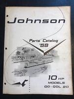 1959 Johnson Sea-Horse 10 HP Outboards Models QD-QDL-20 Parts Catalog