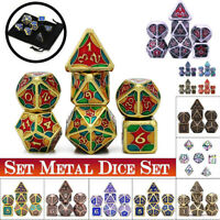 7Pcs/set Metal Polyhedral Dice DND RPG MTG Role Playing Game Toy Gift With Bag