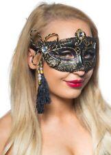 Tassel Venetian Masquerade Mask Black and Gold Genuine Elevate Costumes - New