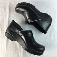Dansko Black Leather Professional Nursing Clog Shoes Women US 7.5 EUR 38 UK 6