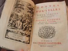 1727 Contes et nouvelles Sieur Vergier poésie fables bibliophilie historiettes