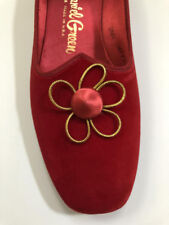 Rare Vintage (NWT) Red velvet daisy flats size 6B