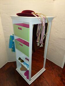 Retired American Girl White Wood Storage Closet Cabinet Armoire Dresser Mirror