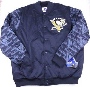 Pittsburgh Penguins NHL Starter Jacket Retro Graffiti Arms, Black, Men's M NEW