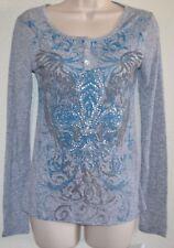 NWT Fleur-de-lis Gray Light Weight WING GLITTER Graphic Scoop HENLEY Shirt sz XL