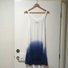 NUNUI Ladies Overswim Dress White Blue Boho Beachy Summer Size 8
