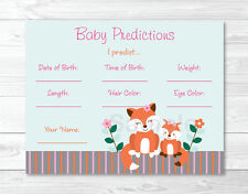 Woodland Girl Fox Baby Shower Baby Predictions Game Cards Printable