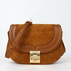 $850 MCM TRISHA Cognac Brown Suede Leather Small Crossbody Bag MWS8STS94CO001
