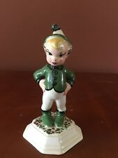 """Pixie Boy~ 4"""" Tall Ceramic standing on Hand Painted Pedestal"""