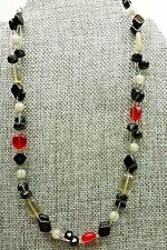 A8) Lia Sophia Red, Black, and Grey - Gemstone and Glass Necklace