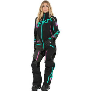 FXR Ladies Ranger Instinct Insulated Monosuit Blk/Char Camo/Mint/E Pink