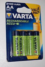4x VARTA AA NiMH AKKU ACCU aufladbare Batterien 2100mAh Mignon 1,2V HR6 56616