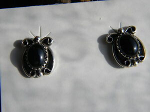 Sterling silver Navajo made earrings black onyx posts querly ques