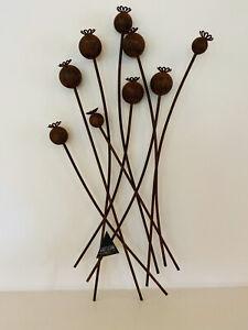 Poppy Head Flower Rust Metal Wall Art - Ascalon - Indoor / Outdoor Garden - 80cm