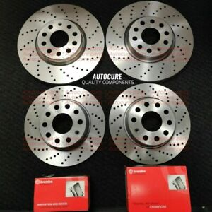 BMW E60 E61 5 SERIES 520D FRONT & REAR DRILLED AND GROOVED BRAKE DISCS & PADS