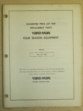 1974 YARD-MAN SUGGESTED PRICE LIST MANUAL REPLACEMENT PARTS FOUR SESON EQUIPMENT