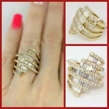 3.20CT F COLOR18K YELLOW GOLD BAUGETTE AND ROUND BRILLIANT DIAMOND LADIES RING