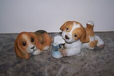 2 Vintage Homco Dogs # 1405 Chewing On Shoe Figurine & Just Chilling # 1407